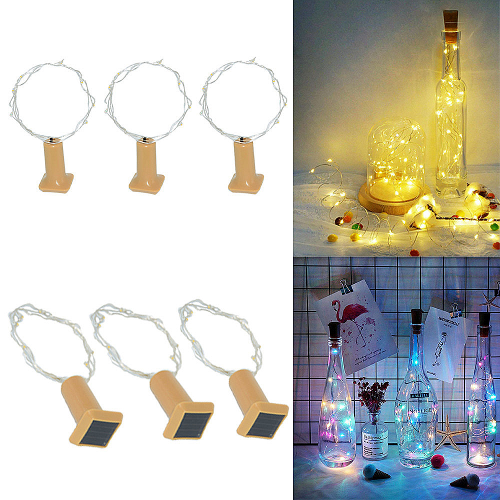 STYLISH LED SOLAR POWER COPPER WIRE CORK SHAPE WINE BOTTLE FAIRY STRING LIGHT