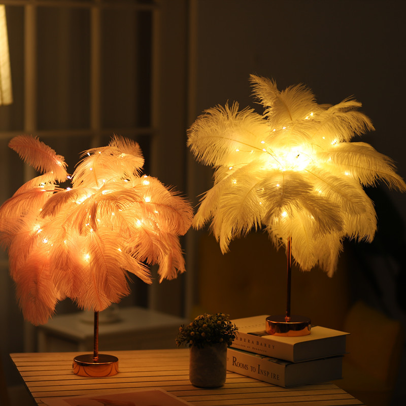 Nordic DIY Natural Ostrich Feather LED Night Light Table Lamp Bedroom Living Room Home Decoration LED Night Lamp Holiday Gifts