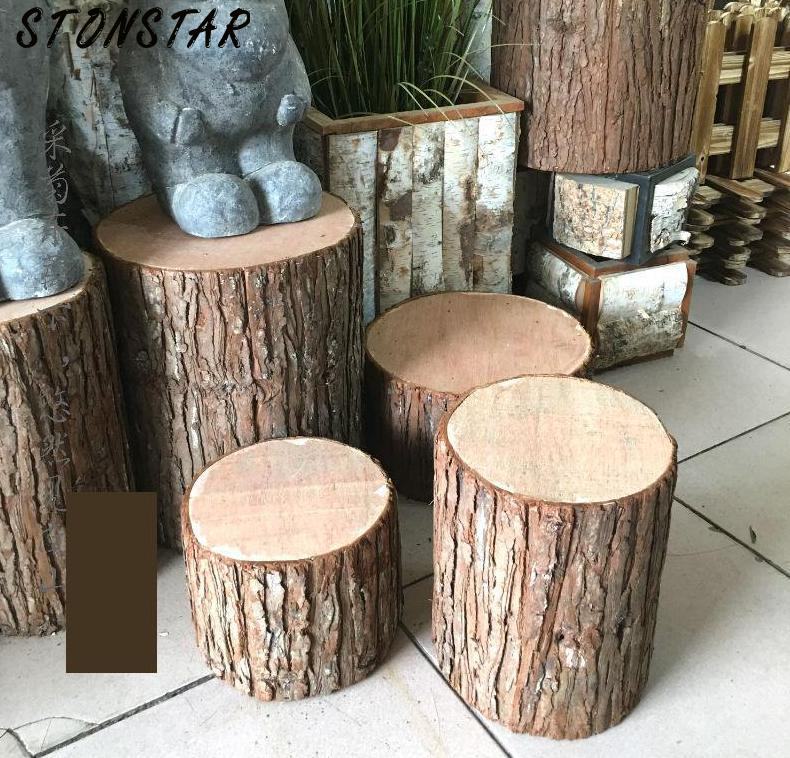 Retro Bar Stool Bark  Tree Stump Wood Stool Hollow Stump Artificial Wooden Stool Photo Shoot Props Stool Decoration Stool Wood