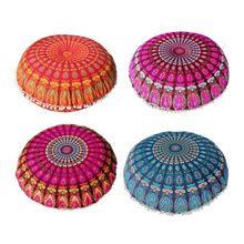 43/80cm Round Indian Bohemian Floor Pillow Cushion Cover Case Mandala Pouf Retro X4YD