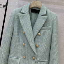 new 2020 autumn winter women high quality designer double breasted tweed blazer