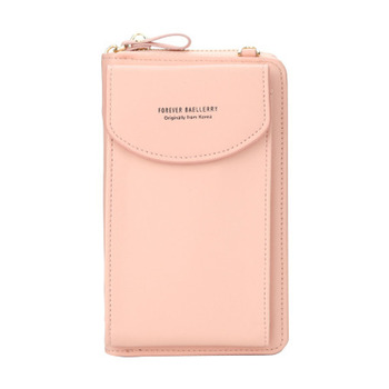 2020 new ladies wallet solid color small Messenger bag multi-function cell phone pocket portable with chain shoulder bags - Pink, One Size