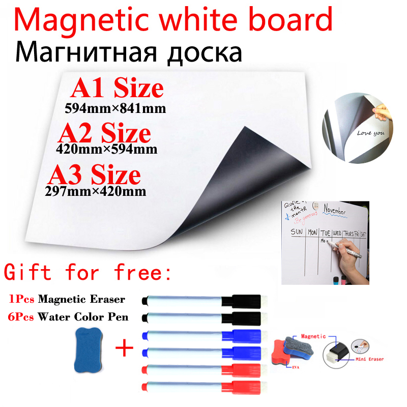 Magnetic White Board Fridge Magnets Direct Adsorption Of Metal Surfaces Dry Wipe White Board Magnetic Marker Pen Eraser