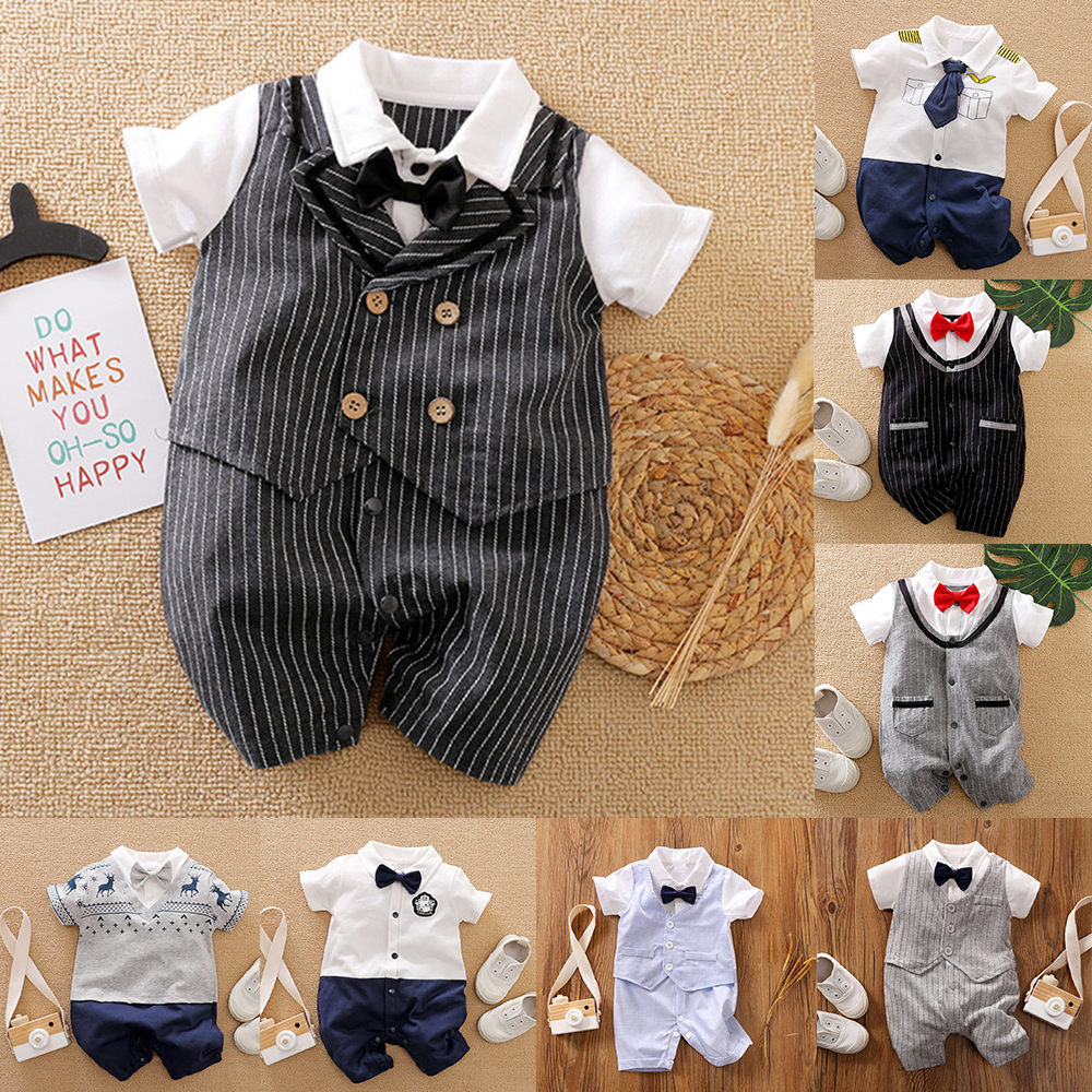Malapina 2020 Summer Newborn Baby Boy Girl Clothes Onesie Romper Jumpsuit Infant Outfit With Bow Tie Baby Unisex Costume