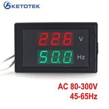 Medidor de voltaje Digital 2 en 1 AC 80-300,0 V 45-65HZ, contador de frecuencia voltímetro Hertz/medidor de HZ, pantalla Led roja 50HZ 60HZ