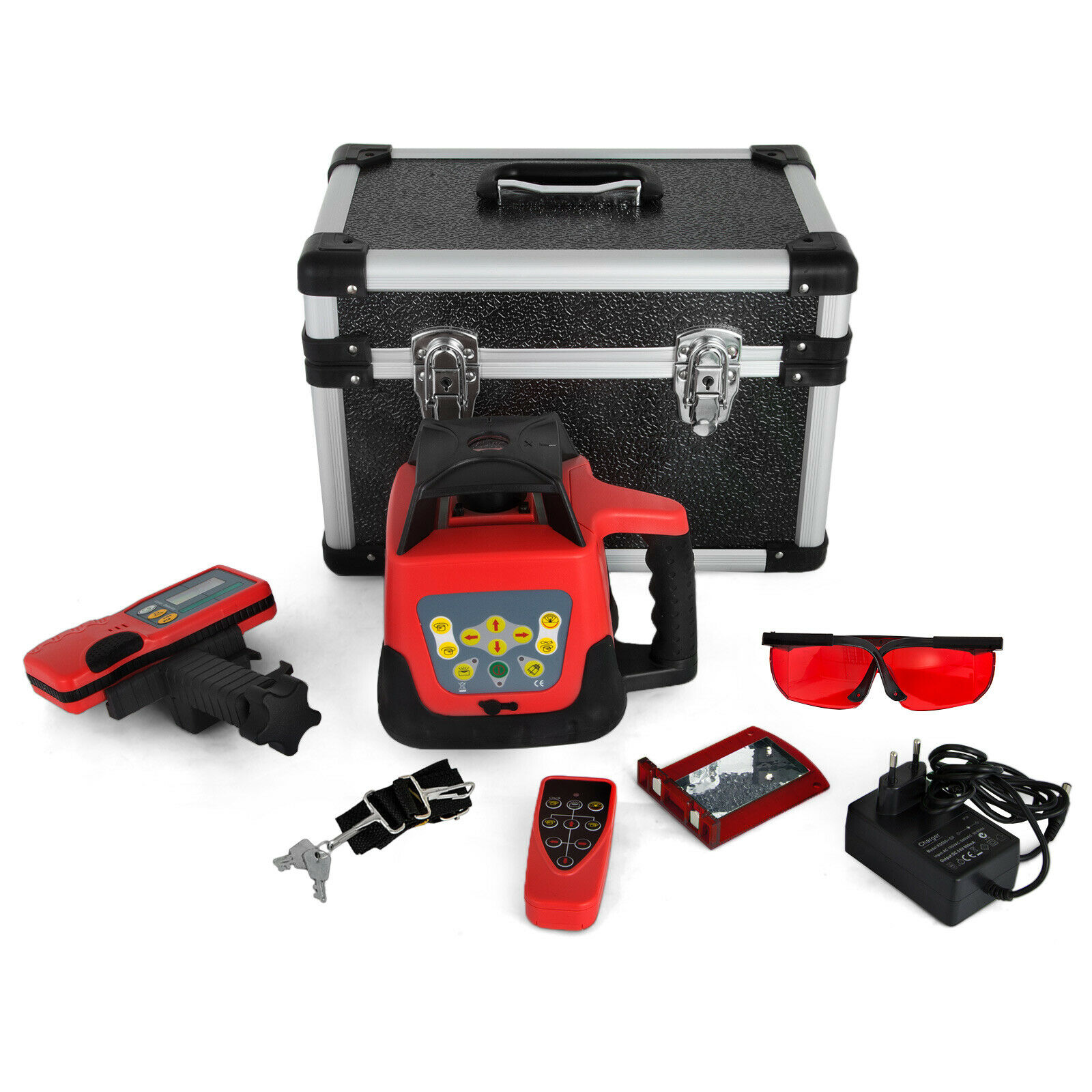 Rotary Laser Level Red Beam Self Leveling Measuring Automatic With Receiver Remote Control Carrying Case