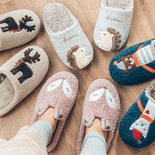 Indoor Warm Women Slippers Cute Animal Fox Unicorn Winter Fur Home Shoe Female Girl Nonslip Memory Foam Cotton House Slippers(China)