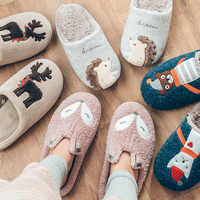 Indoor Warm Women Slippers Cute Animal Fox Unicorn Winter Fur Home Shoe Female Girl Nonslip Memory Foam Cotton House Slippers