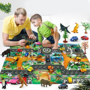 2020 Hot sale Dinosaur Traffic Road Kids Baby Crawling Play Mat Chidren Game Floor Carpet Pad World Transport Map Pattern Design