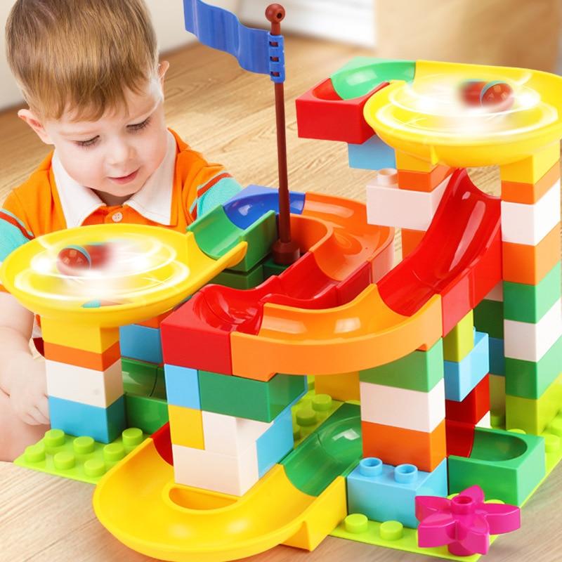 Kids Education Juguetes DIY Funnel Bricks Marble Race Run Maze Ball Slide Track Building Blocks Legoing Duplo Toys For Children