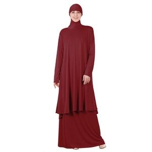 Image 5 - 女性イスラム教徒の礼拝アバヤ二枚ドレストーブガウンヒジャーブ祈り中東ローブイスラムフード Abayas スカート祈る服