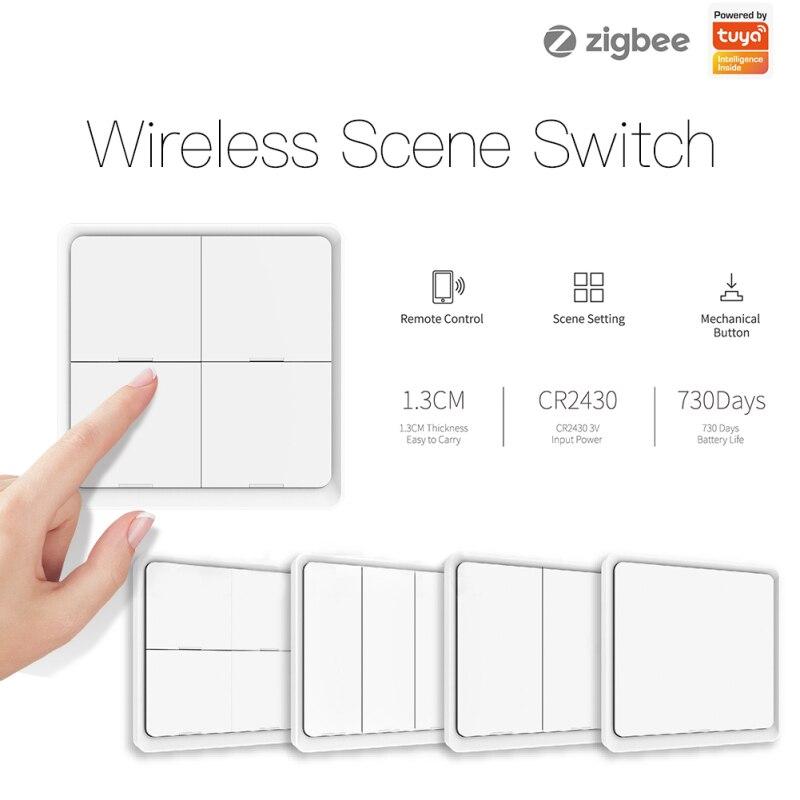 Tuya zigbee 4 gang sem fio 12 cena interruptor botão controlador de automação a pilhas cenário para tuya módulos dispositivos