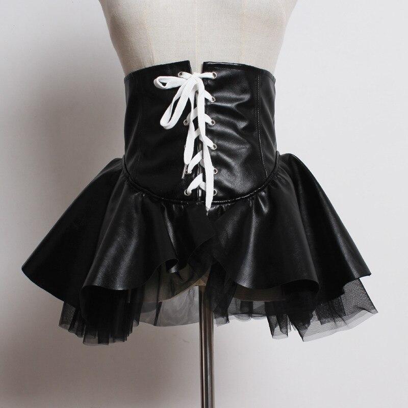 2020 Spring Hot Sale Leather Corset Belts Women Mesh PU Mini Skirt Zipper Wide Belt Female Trendy Fashion Casual Waistband ZK302