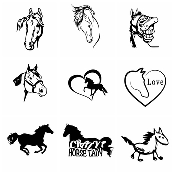 Funny Car Stickers Horse Sticker and Decals Car-styling Animals Door Window Accessories Decoration Wrap Vinyl