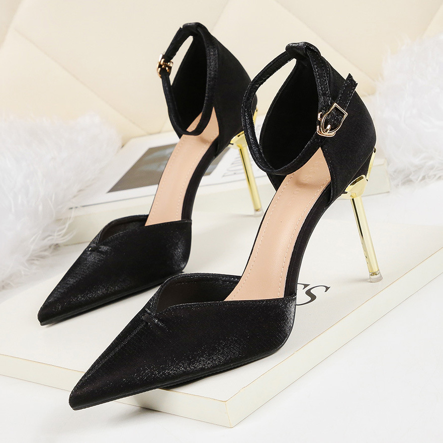 Liren 2019 Summer New PU Fashion Sexy Women Party Buckle Sandals High Thin Heels Pointed Wrapped Toe Women Sexy Sandals in High Heels from Shoes