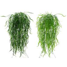 95cm sztuczne zielone liście spłaszczone trawy Rattan sztuczne rośliny do domu ogrodowa dekoracja ślubna kwiaty sztyczne sztuczne kwiaty tanie tanio Kwiat Ciąg Ślub Z tworzywa sztucznego