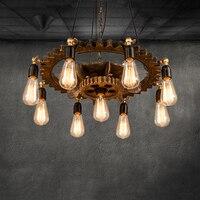 Creative retro loft chandelier 9 heads wood pendant lamp restaurant living room dining room foyer cafe club bar light headlight
