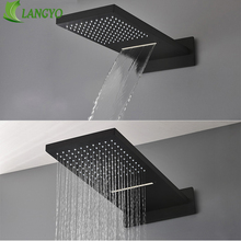 Black 16 Ultrathin Stainless steel 304 Waterfall & Rainfall Shower Head Square Wall Mounted Sprayer