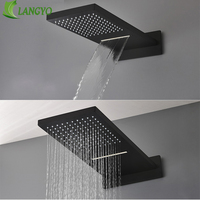 Black 16 Ultrathin Stainless steel 304 Stainless steel Waterfall & Rainfall Shower Head Square Wall Mounted Sprayer