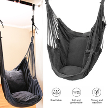 Portable Hammock Chair Hanging Rope Chair Swing Chair Seat with 2 Pillows for Garden Indoor Outdoor Fashionable Hammock Swings swing chair rede camping hammock hammock swings