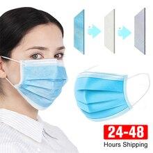 Masque facial non tissé avec filtre 3 couches, jetable, 100 unités, expédition sous 48 h