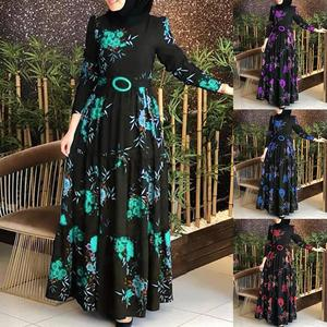 Women Long Sleeve Muslim Abaya Dress Ethnic Floral Print Belt Maxi Kaftan Robe women's dress woman dress dresses for women skirt