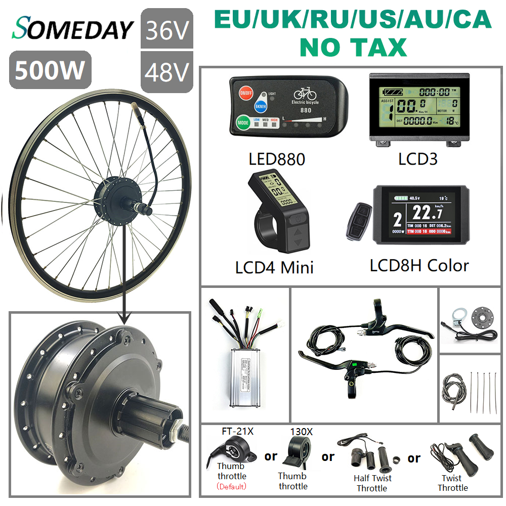 SOMEDAY 36V/48V 500W Electric Bicycle Conversion KIt 16''-700C Brushless <font><b>Gear</b></font> Rear Cassette Hub <font><b>Motor</b></font> Wheel for Electric <font><b>Bike</b></font> image