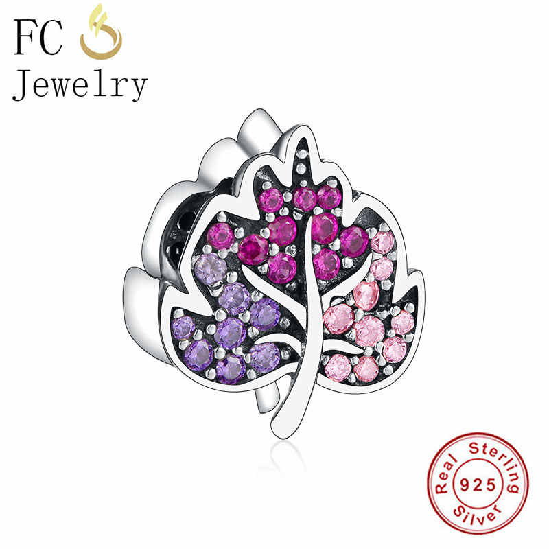 FC Jewelry New Arrival Fit Original Pandora Charm Bracelet 925 Silver Leaf Pave Pink Pink Zircon Bead Making Reflexion Berloque