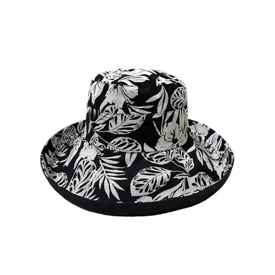 reversible sunhats girls summer bucket hat women cotton soft foldable beanie caps printed flat eaves headgear