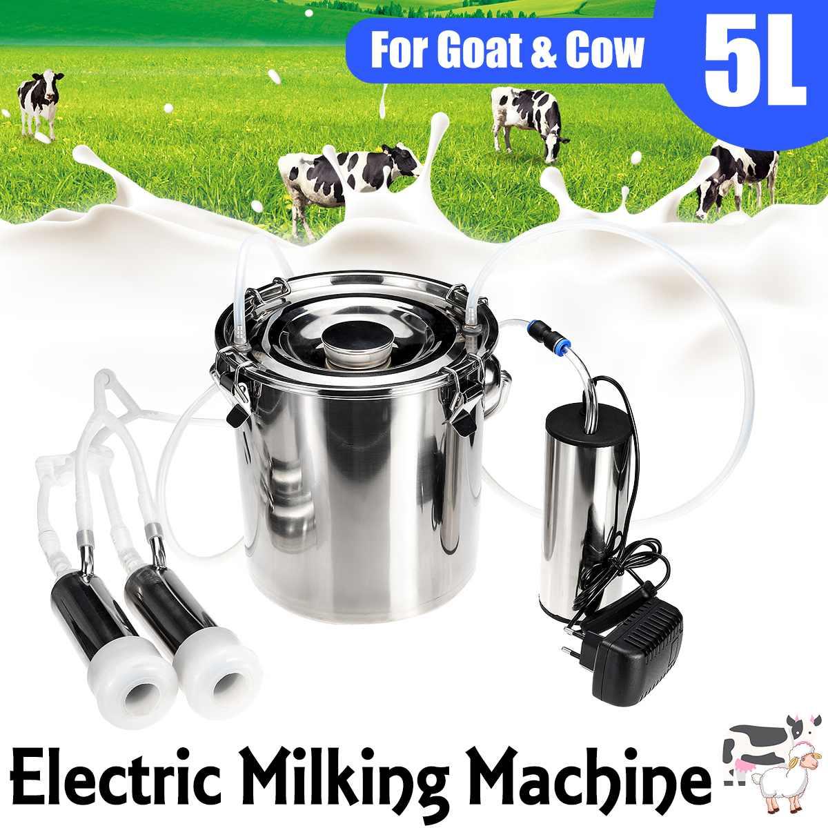 5L versión mejorada eléctrica vaca cabra oveja ordeño máquina doble bomba de vacío Cubo de acero inoxidable 220V máquinas de ordeño
