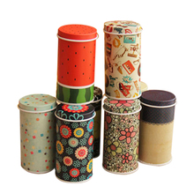 8PCS Multiple Styles Mini Tinplate Cylindrical Tank Tins Metal Container Frosted