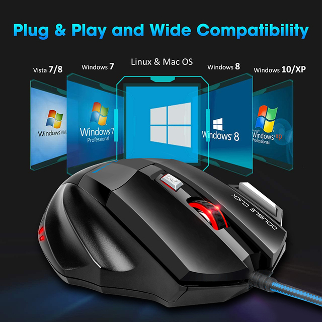 Computer Mouse Gamer Ergonomic Gaming Mouse USB Wired Game Mause 5500 DPI Silent Mice With LED Backlight 7 Button For PC Laptop 3