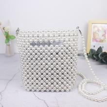 Handbags Retro Pearl Woven Mini Diagonal Bag clutch SF
