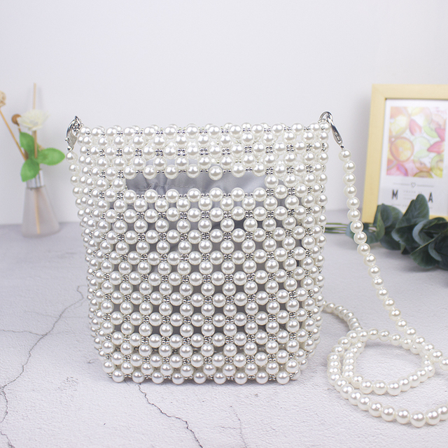 Brand Designer Handbags Handmade Beaded Retro Pearl Bag Woven Mini Female Diagonal Mobile Phone Bag New Evening Bag clutch bag