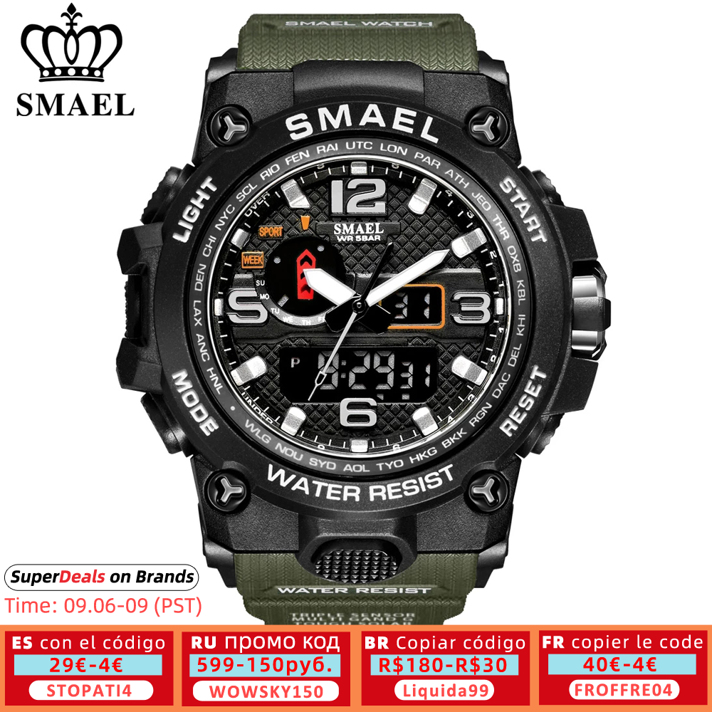 SMAEL Brand Men Sports Watches Dual Display Analog Digital LED Electronic Quartz Wristwatches Waterproof Swimming Military Watch led watch women led e14led lights jeep wrangler - AliExpress