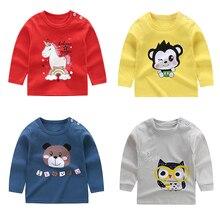 От 0 до 6 лет футболка унисекс для маленьких мальчиков хлопковые осенние детские топы день рождения с длинными рукавами и круглым вырезом, одежда для маленьких девочек, футболки