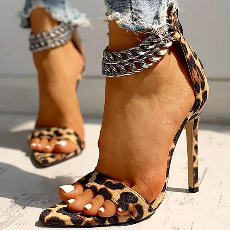 Women Sexy Pumps Woman Leopard Sandals Ladies Pointed Toe High Heels Ladies Metal Decoration Chain Shoes Female Plus Size 43