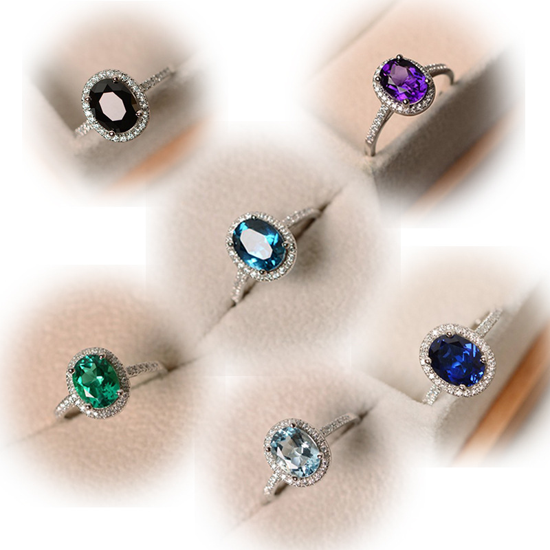 Trendy Brand Silver Color Alloy Ring Big Square Sky Blue Green Purple Black Stone Rings For Women Jewelry Wedding Gift Rings