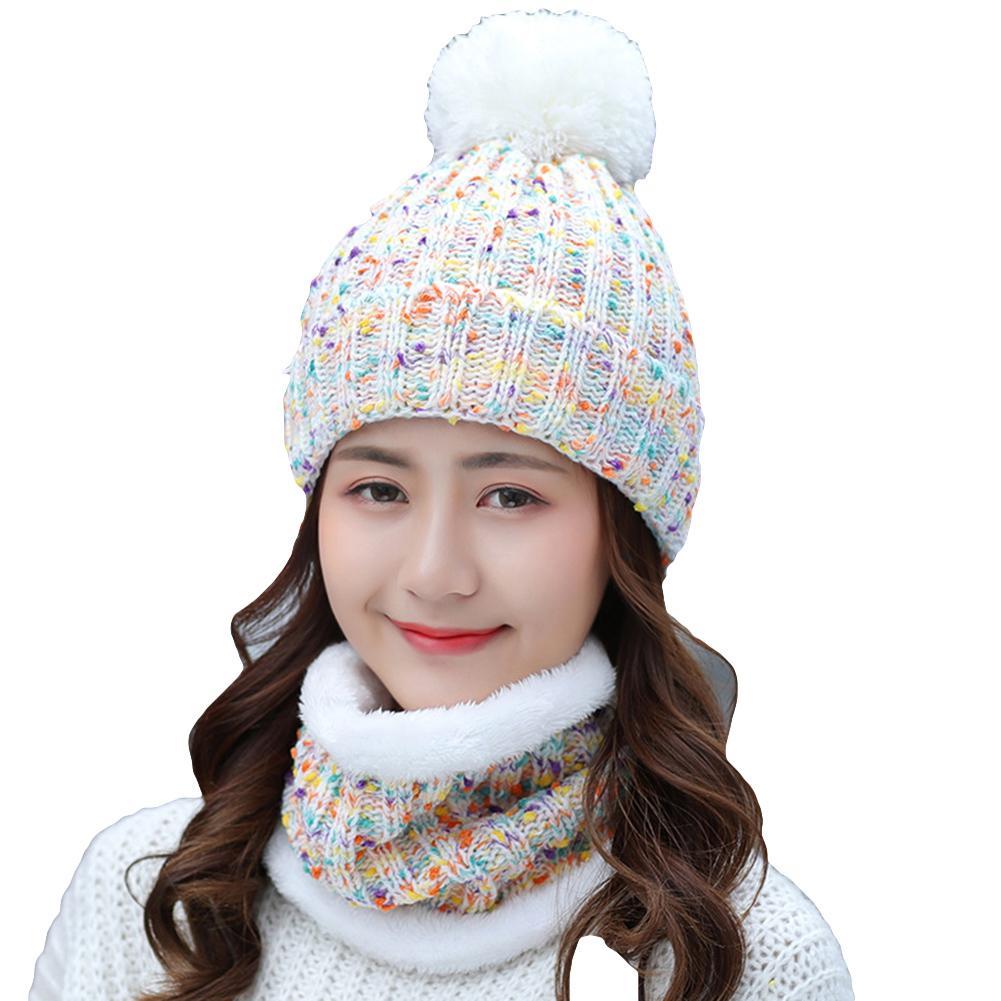 2Pcs Winter Women Knitted Pompom Beanie Hat Thick Warm Skull Cap Bib Scarf Set