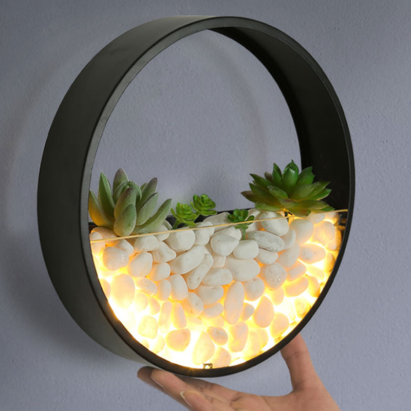 Modern LED Wall Lamp Round LED Sconces For Bedroom Living Room Wall Decoration Decorated With Plants And Stones Gift Art Deco