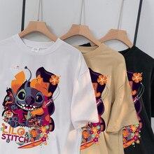 Disney Stich T-Shirt Damen Sommer Cartoon Top T-Shirt Modus Mnner und Frauen gleichen Stil Erwachsenen T-Shirt Basis Heißer Verkauf