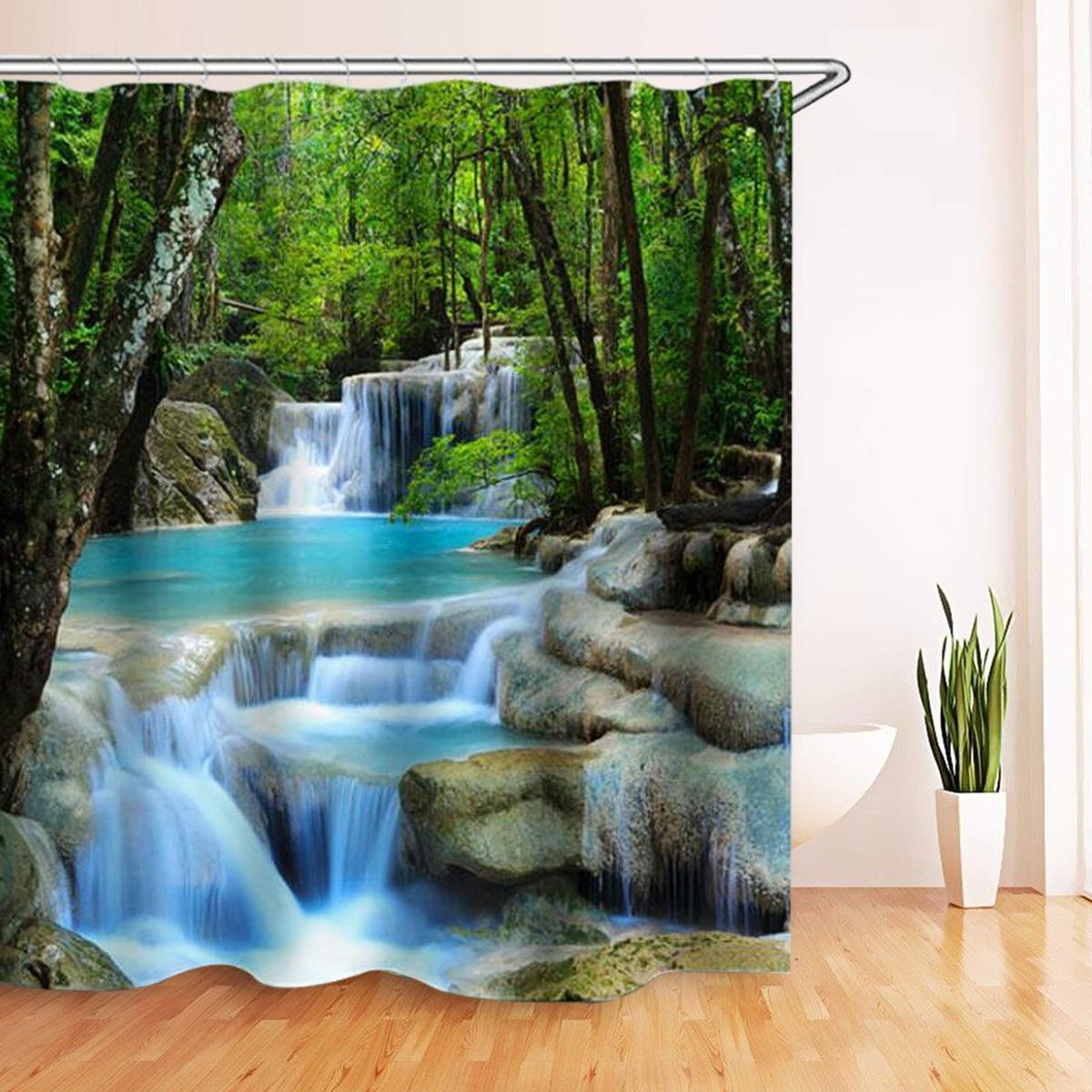 3D Waterfall Scenery Waterproof Shower Curtain Bathroom  Landscape Trees Flower Bath Mat Set Pedestal Rug Lid Toilet Cover