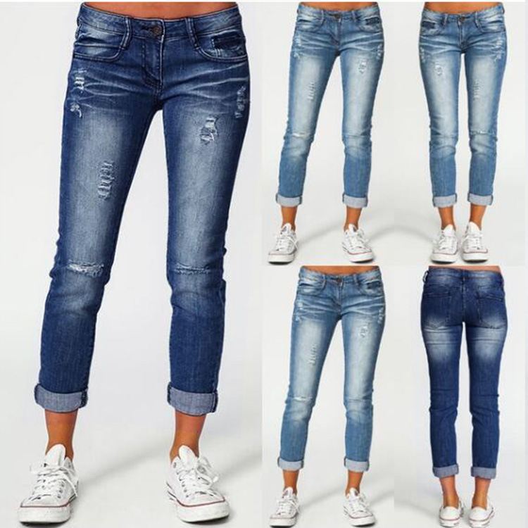 Women Skinny High Waist Jeans 2019 Summer Autumn Casual Ripped Cuffs Ankle Length Pencil Stretch Slim Pants Plus Size