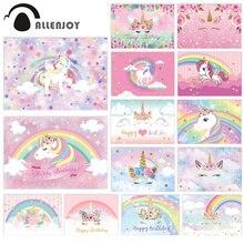 Allenjoy chuveiro de bebê para fundos, arco íris, unicórnio, céu, festa de 1 ° ano de aniversário, foto, chamadas de fundo