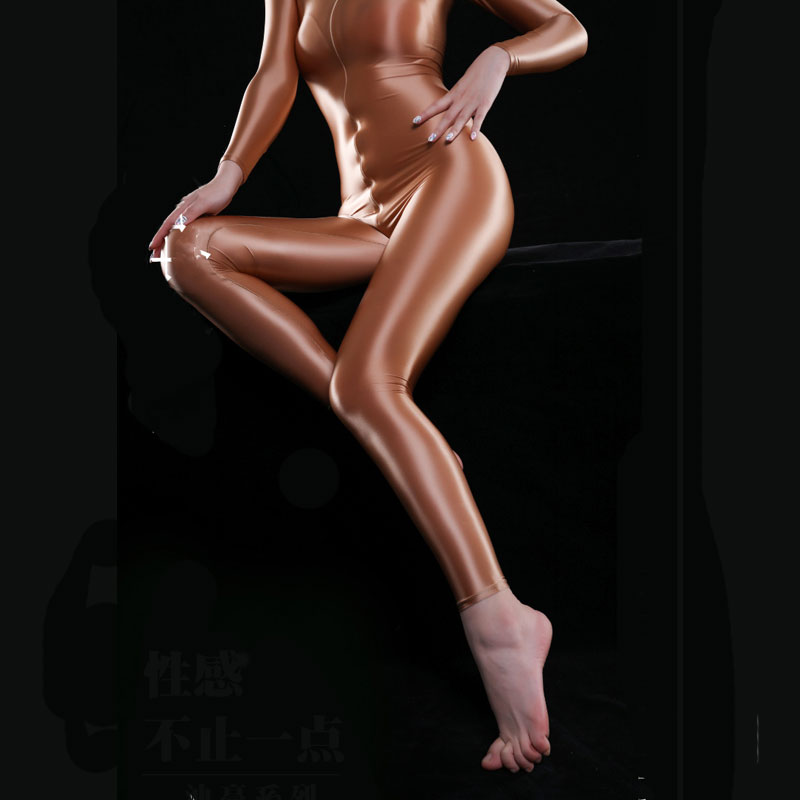 Sexy Shiny Full Body Bodysuit Oil Gloosy Sexy Tight Shaping Thong Bodysuit Catsuit Sheer See Through Sexy Tight Candy Color F38