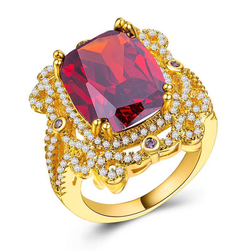 Turkish Jewelry Fashion Wedding Rings Engagement Vintage Flower Shape Zircon Ring Female Accessories