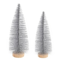 Tabletop Christmas Tree Miniature Pine Silver Trees With Wood Base Crafts Home Decor Ornaments