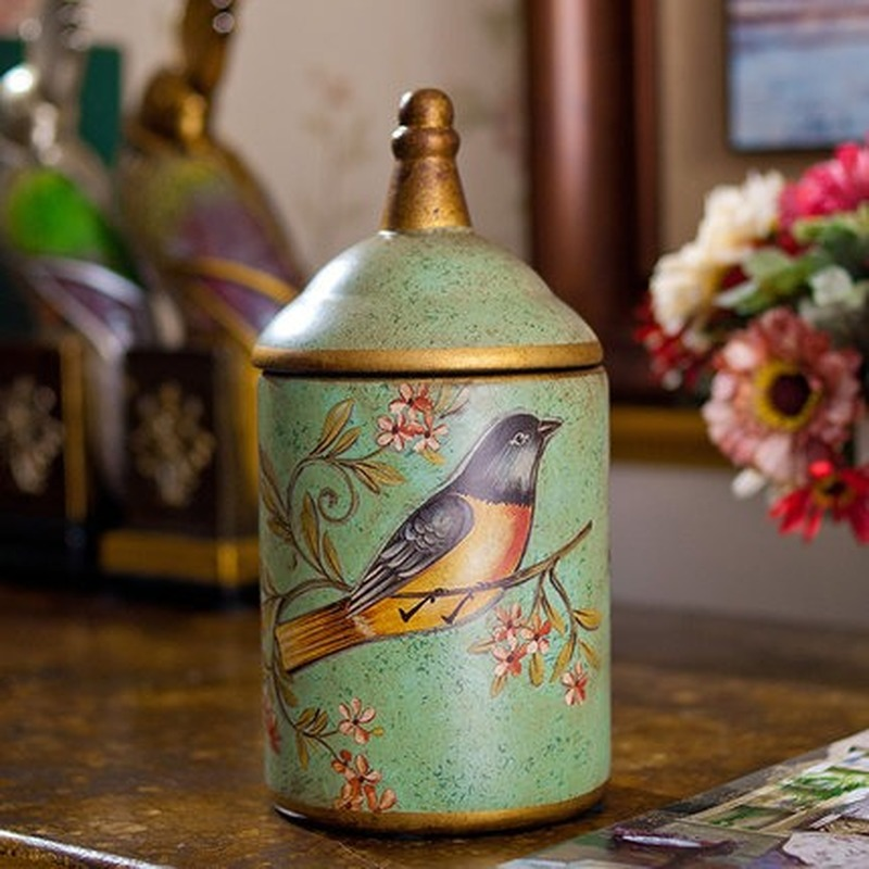Vintage Ceramic Kitchen Canister Jars Storage Bottles Retro Tea Candy Tin Sugar Pot Organizer Painted Storage Jar Cans Cooking-4