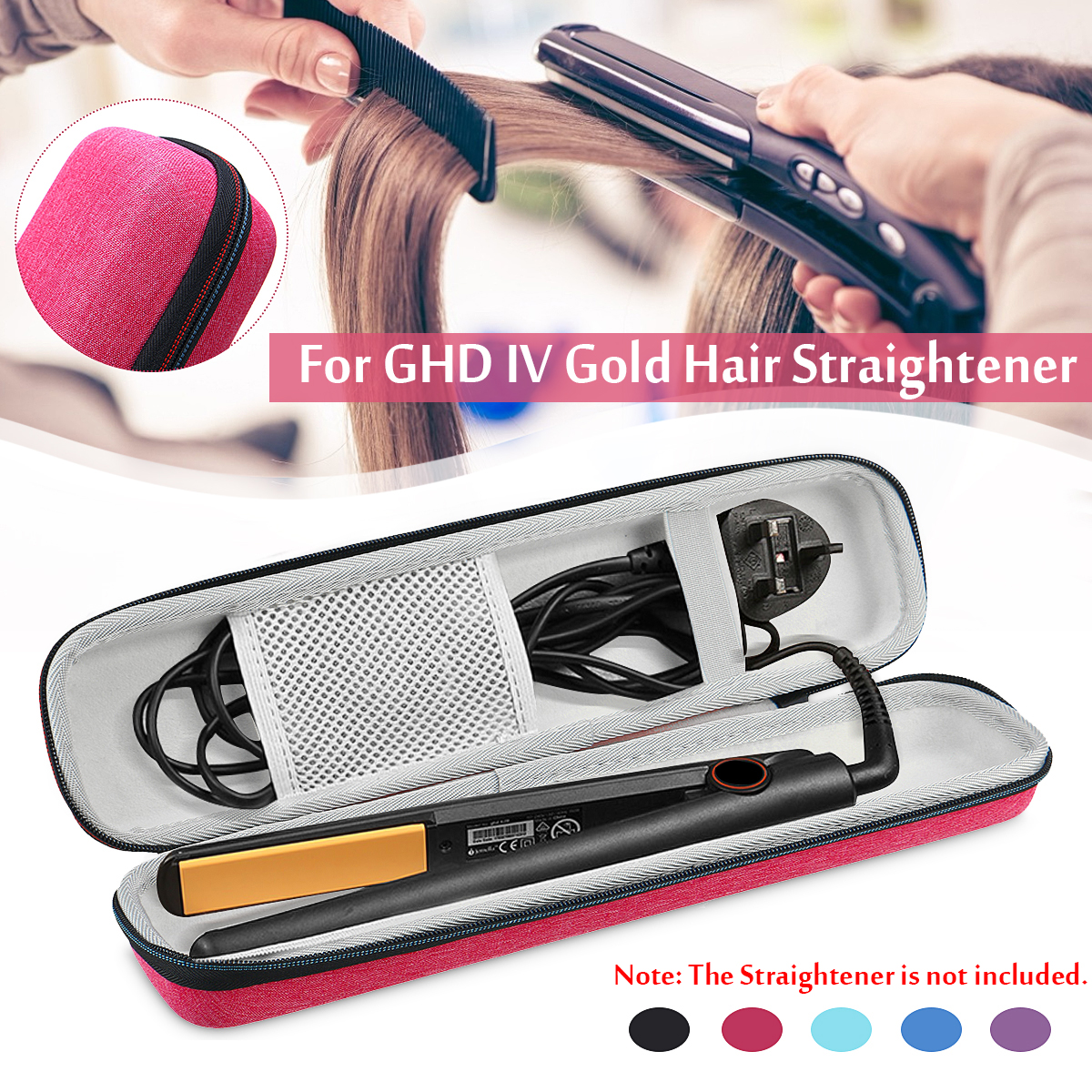 Protective Hair Straightener Case For Braun ST780 / GHD IV Gold Classic-Stying Curler Box Semi-waterproof Carry Bag(only Case)