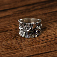 925 sterling silver retro Thai silver heavy five-pointed star ring trendy personality ring 925 sterling silver retro thai silver bulldog fierce dog ring fashion hip hop personality ring